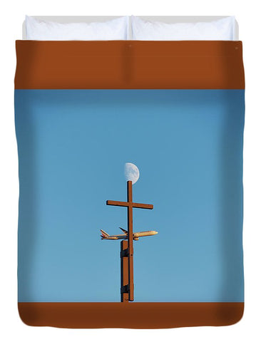 Image of Cross Moon And Airplane - Duvet Cover - Full - Duvet Cover