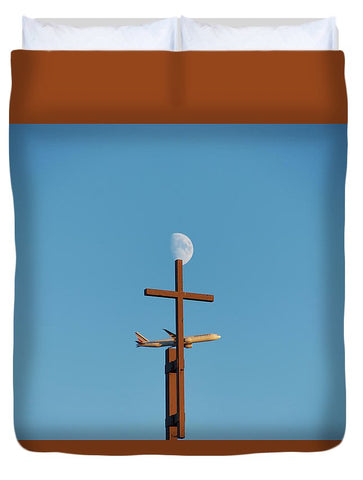 Image of Cross Moon And Airplane - Duvet Cover - Queen - Duvet Cover
