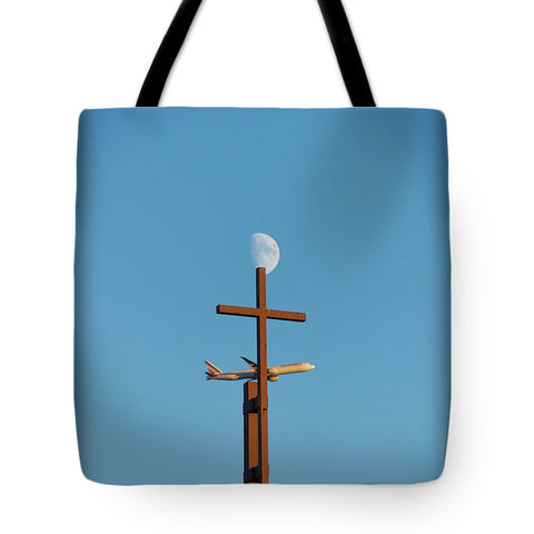 Image of Cross Moon And Airplane - Tote Bag - 18 X 18 - Tote Bag