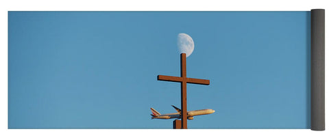 Image of Cross Moon And Airplane - Yoga Mat - 24 X 72 - Yoga Mat