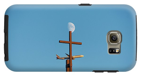 Cross Moon And Airplane - Phone Case - Galaxy S6 Tough Case - Phone Case