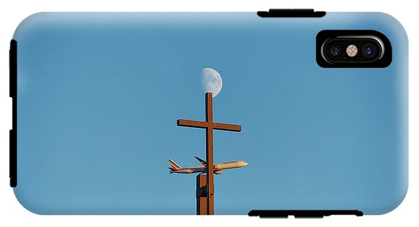 Cross Moon And Airplane - Phone Case - Iphone X Tough Case - Phone Case