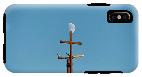 Image of Cross Moon And Airplane - Phone Case - Iphone X Tough Case - Phone Case