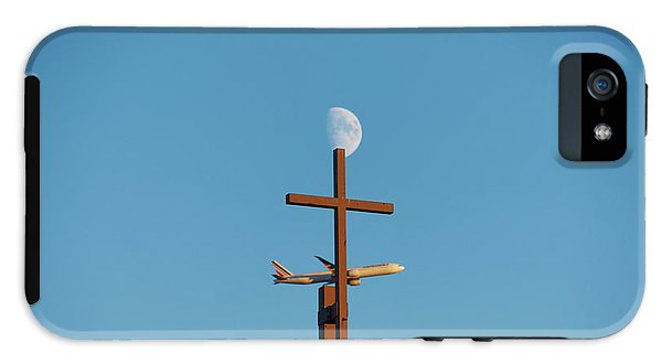Cross Moon And Airplane - Phone Case - Iphone 5 Tough Case - Phone Case