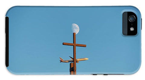Image of Cross Moon And Airplane - Phone Case - Iphone 5 Tough Case - Phone Case