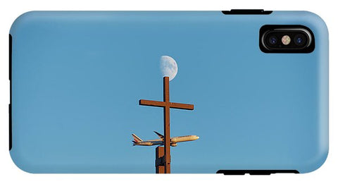 Image of Cross Moon And Airplane - Phone Case - Iphone Xs Max Tough Case - Phone Case