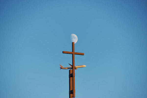 Cross Moon And Airplane - Art Print - 8.000 X 5.375 / Archival Matte Paper - Art Print