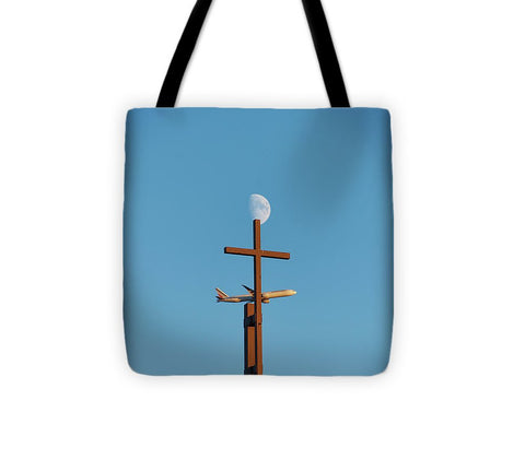 Image of Cross Moon And Airplane - Tote Bag - 13 X 13 - Tote Bag