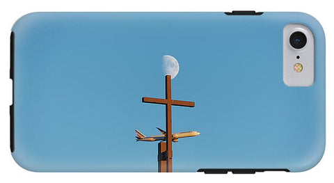 Image of Cross Moon And Airplane - Phone Case - Iphone 8 Tough Case - Phone Case