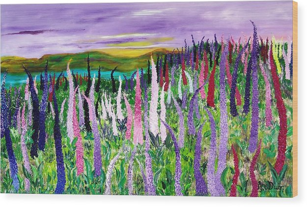 Field With Lupines - Wood Print