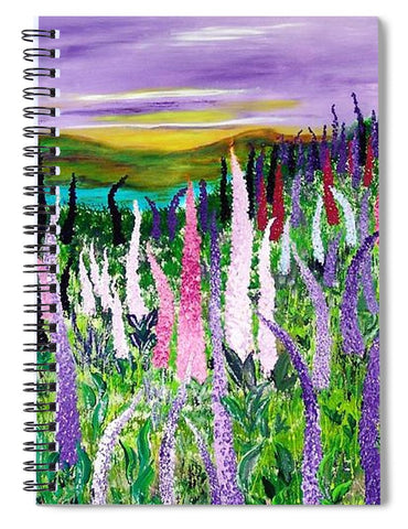 Image of Field With Lupines - Spiral Notebook