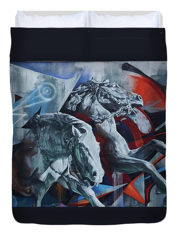 Image of Graffiti Horses In #montreal - Duvet Cover - Full - Duvet Cover