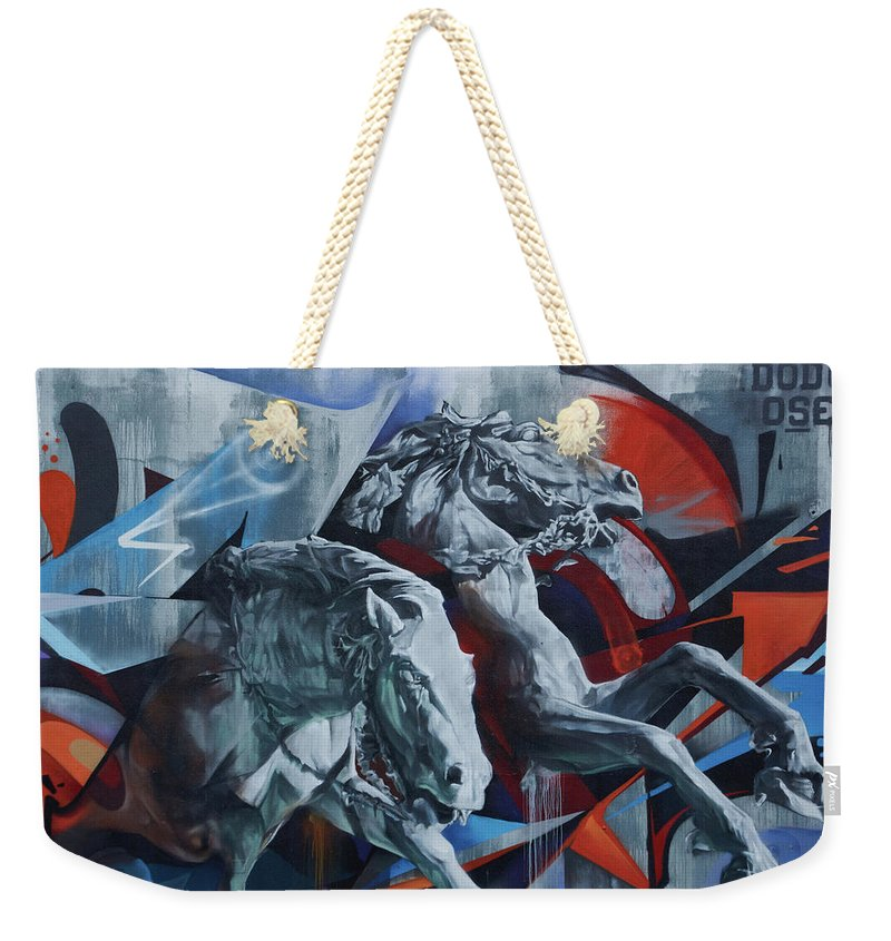 Graffiti Horses In #montreal - Weekender Tote Bag - 24 X 16 / Natural - Weekender Tote Bag