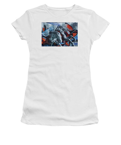 Image of Graffiti Horses In #montreal - Womens T-Shirt (Athletic Fit) - White / Small - Womens T-Shirt (Athletic Fit)