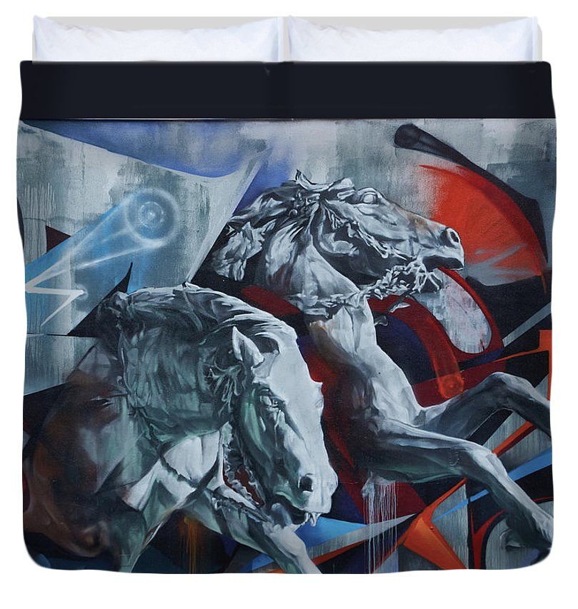 Graffiti Horses In #montreal - Duvet Cover - King - Duvet Cover