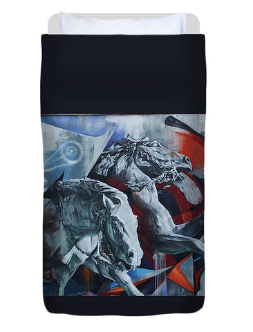 Image of Graffiti Horses In #montreal - Duvet Cover - Twin - Duvet Cover