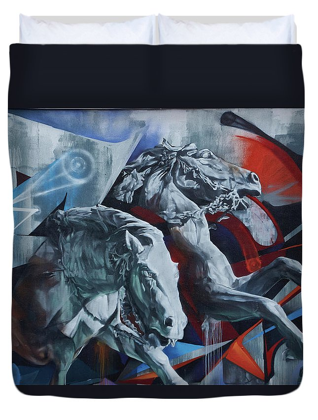 Graffiti Horses In #montreal - Duvet Cover - Queen - Duvet Cover