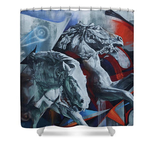 Graffiti Horses In #montreal - Shower Curtain - 71 X 74 Standard - Shower Curtain