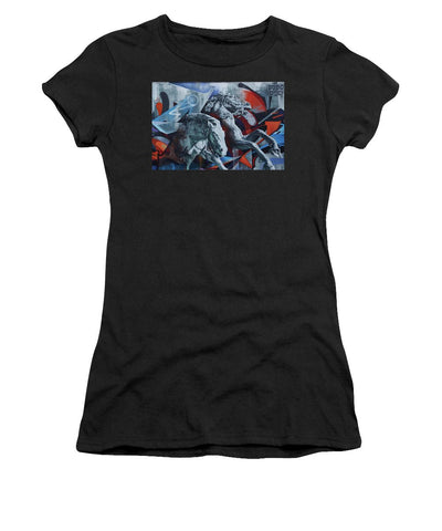 Image of Graffiti Horses In #montreal - Womens T-Shirt (Athletic Fit) - Black / Small - Womens T-Shirt (Athletic Fit)