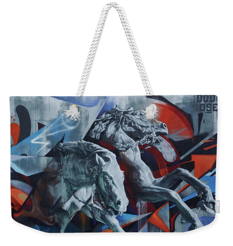 Graffiti Horses In #montreal - Weekender Tote Bag - 24 X 16 / White - Weekender Tote Bag