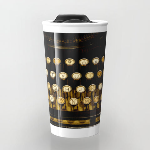 Travel Mugs - Antique Keyboard - Travel Mug