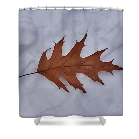 Leaf On The Snow - Shower Curtain