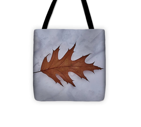Image of Leaf On The Snow - Tote Bag - 13 X 13 - Tote Bag