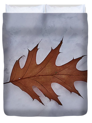 Leaf On The Snow - Duvet Cover
