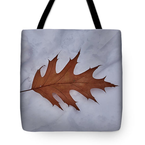 Image of Leaf On The Snow - Tote Bag - 18 X 18 - Tote Bag