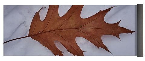 Leaf On The Snow - Yoga Mat - 24 X 72 - Yoga Mat