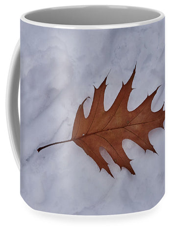 Leaf On The Snow - Mug
