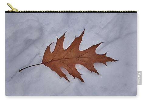 Image of Leaf On The Snow - Carry-All Pouch - Medium (9.5 X 6) - Carry-All Pouch