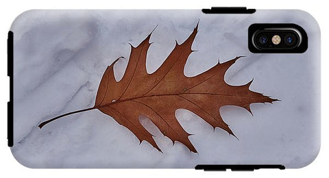 Image of Leaf On The Snow - Phone Case - Iphone Xs Tough Case - Phone Case
