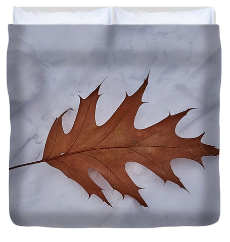 Leaf On The Snow - Duvet Cover - King - Duvet Cover