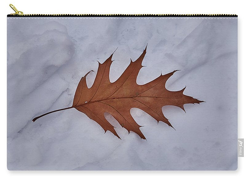 Leaf On The Snow - Carry-All Pouch - Large (12.5 X 8.5) - Carry-All Pouch