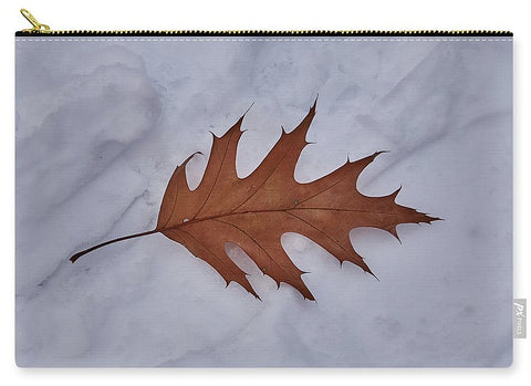 Image of Leaf On The Snow - Carry-All Pouch - Large (12.5 X 8.5) - Carry-All Pouch