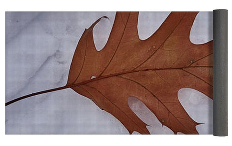 Image of Leaf On The Snow - Yoga Mat
