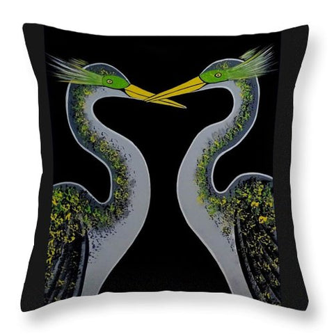 Image of Les Oiseaux Du Bonheur - Throw Pillow
