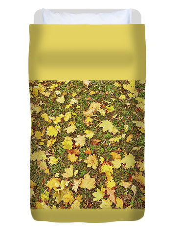 Image of Maple Leafs On The Ground - Duvet Cover