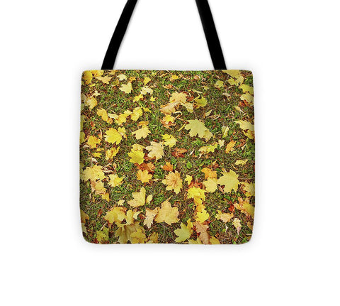 Image of Maple Leafs On The Ground - Tote Bag - 13 X 13 - Tote Bag