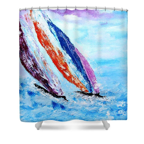 On The Waves Of Freedom - Shower Curtain