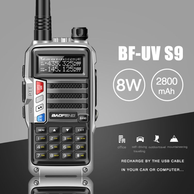 2019 8W BaoFeng UV-S9 Powerful Walkie Talkie CB Radio Transceiver 10km Long Range Portable Radio for Hunt Forest City Upgrade 5r