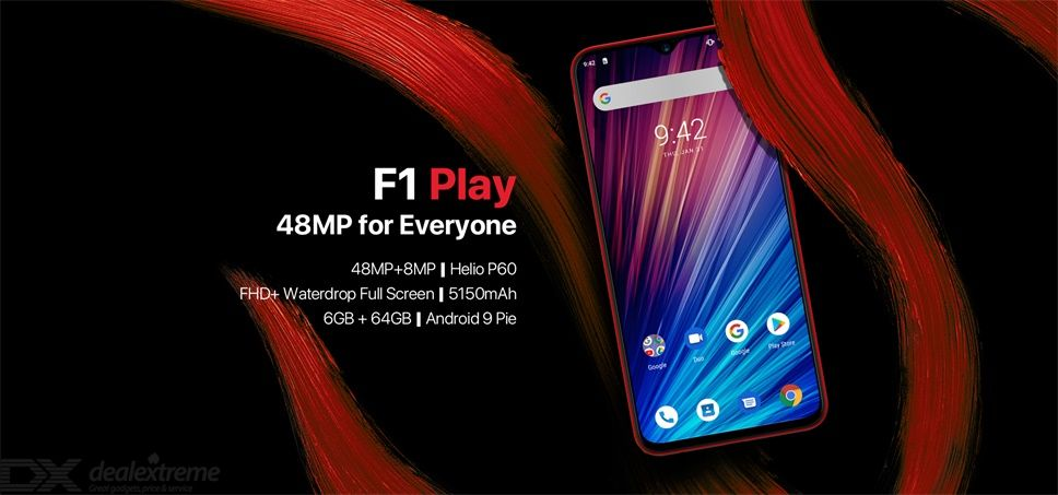"UMIDIGI F1 Play 48MP+8MP+16MP 5150mAh Mobile phone Android 9.0 6GB RAM 64GB ROM 6.3"" FHD Global Version Smartphone Dual 4G"