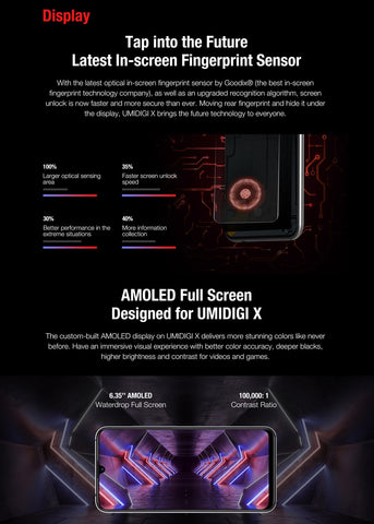 "UMIDIGI X Smartphone Android 9.0 RAM 4GB ROM ROM 128GB ""6.35"" AMOLED Helio P60 version globale double cames à triple dossier 4m 48m 4150mAh"