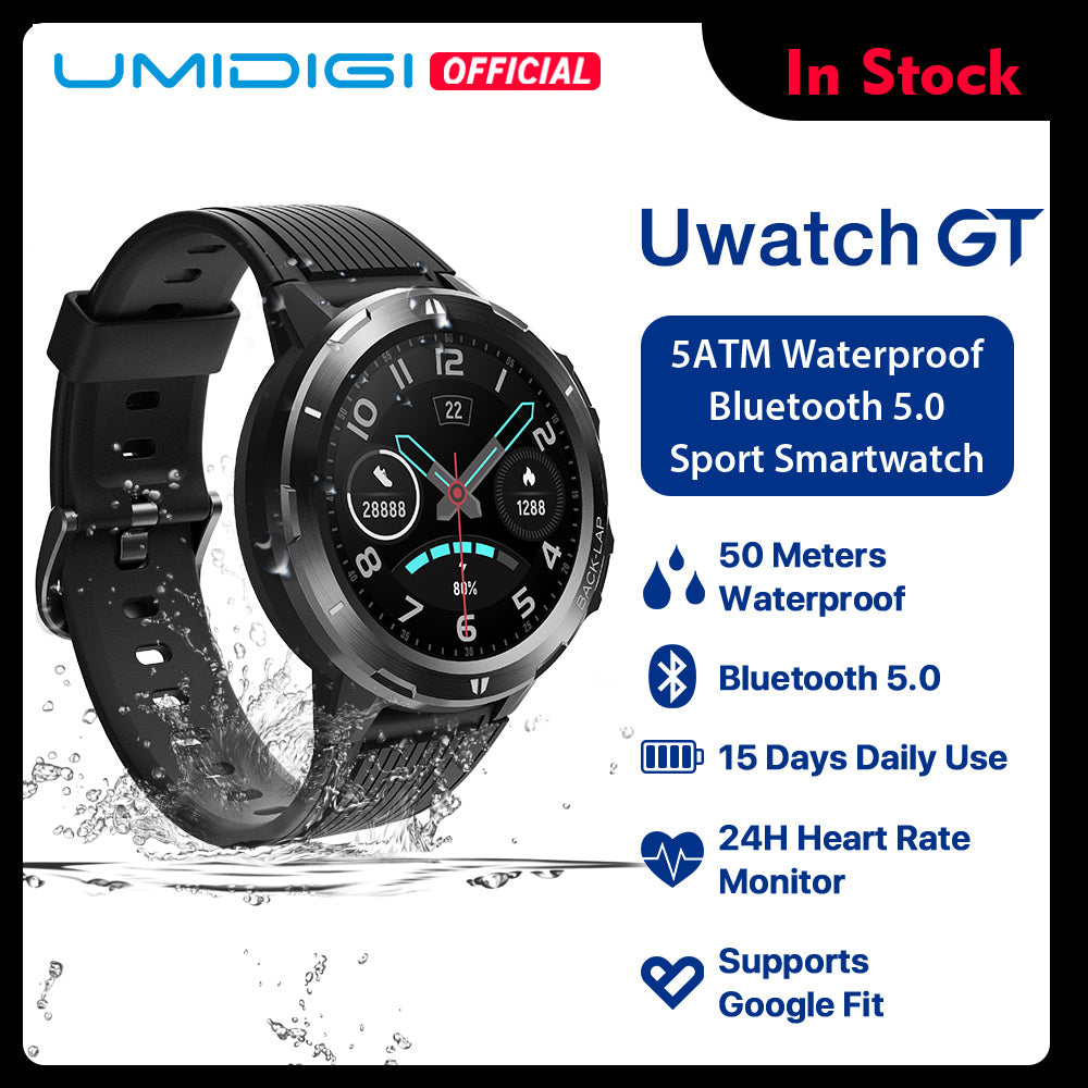 UMIDIGI Uwatch GT Smart Watch 5ATM Waterproof All-Day Heart Rate Activity Tracking Sleep Monitor Ultra-Long Battrey Android iOS