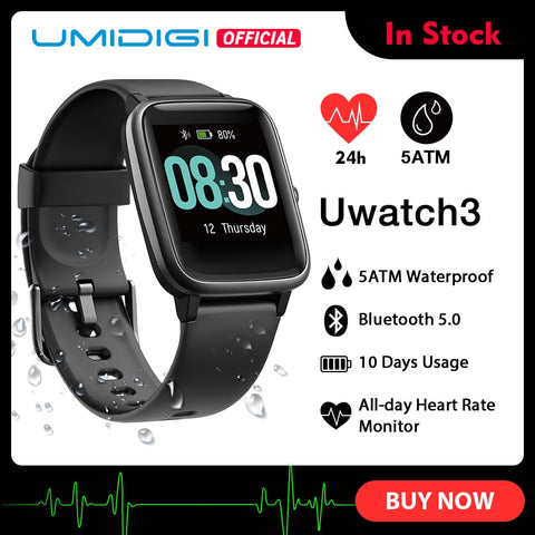 Image of UMIDIGI Uwatch3 Smart Watch Men Women 5ATM Waterproof Fitness Tracker Sport Band Heart Rate Sleep Monitoring For Android IOS New
