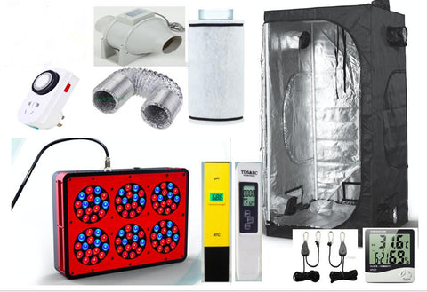 Eco Complete Grow Room Indoor Hydroponic 80X80X160Cm Apollo 6 Led Grow Light 270W Ventilation Greenhouse Grow Kit Set-Up System - Hydroponic
