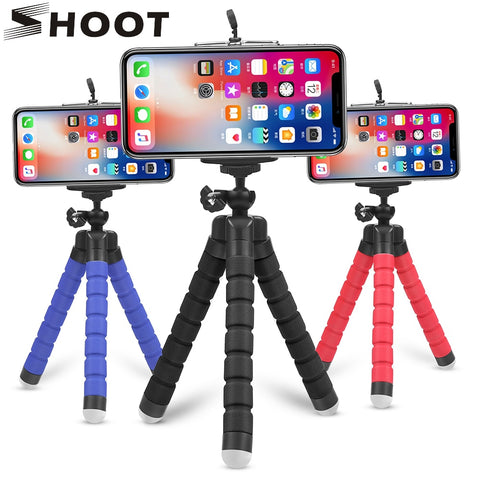 SHOOT Mini Flexible Sponge Octopus Tripod for iPhone Samsung Xiaomi Huawei Mobile Phone Smartphone Tripod for Gopro 9 8 7 Camera