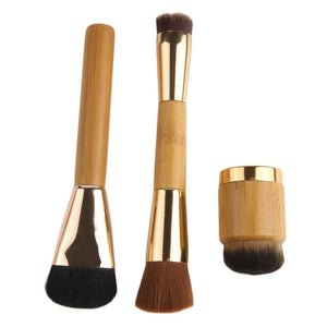 High Quality 3Pcs/set Bamboo Handle Foundation Powder Bronzer Concealer Makeup Brushes - Bamboo Products