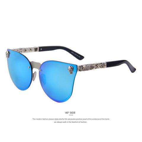 Merrys Fashion Women Gothic Eyewear Skull Frame Metal Temple Oculos De Sol Uv400 - C03 Blue - Sunglasses